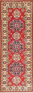 Geometric-2x6-ft-RASPBERRY-RED-Runner-Kazak-Pakistan-Oriental-Hand-made-Wool-Rug
