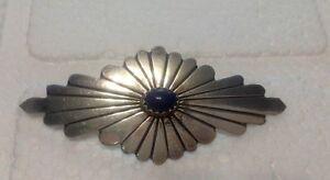 Adam and Rita Teller Navajo De Chelly Sterling Silver & Blue Lapis Brooch/Pin