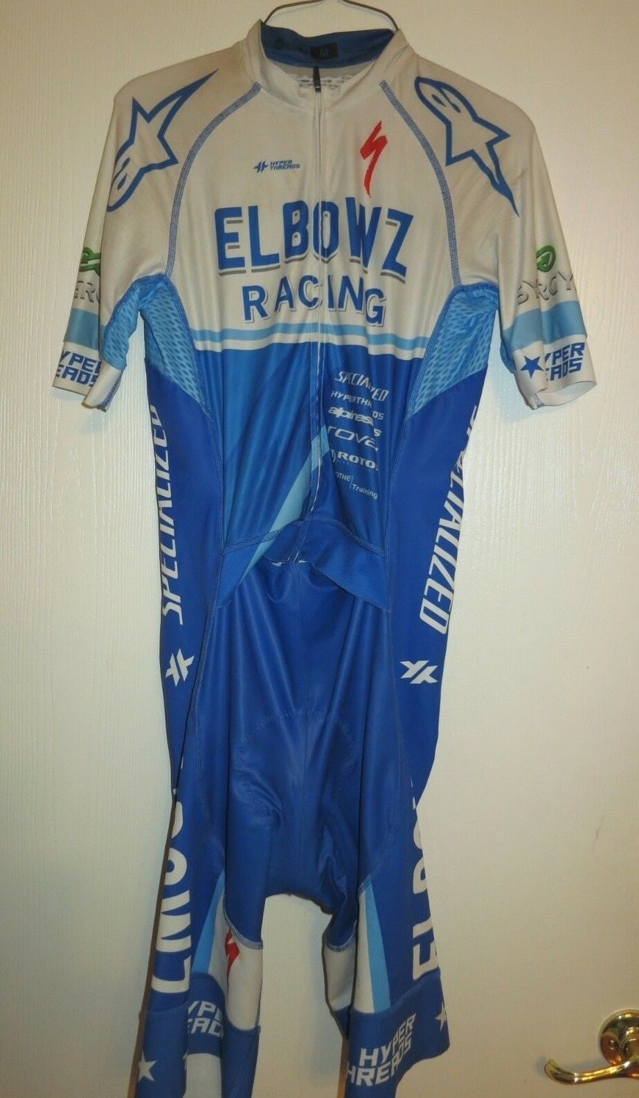 18 HYPERTHREADS ELBOWZ Racing Cycling Team San Remo Short Sleeve Skinsuit Medium