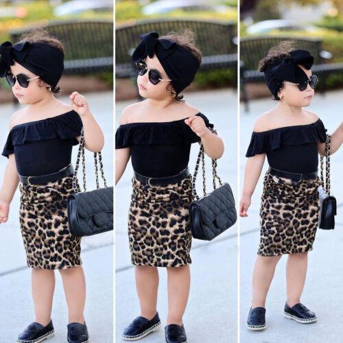 Toddler Kids Baby Girl Off Should T shirt Tops+Leopard Print Skirt Clothes Set