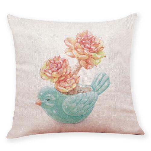 "18/"" Flower Square Cotton Linen Throw Pillow Case Cushion Cover Home Decor CA"