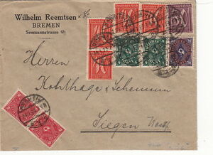Germany-Lettre-CaD-Bremen-gt-gt-Bel-Affranchissement-1923-Brief-Cover
