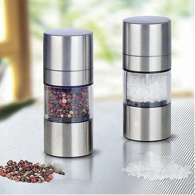 Stainless Steel Salt Pepper Brushed Kitchen DIY Tool Mill Grinder Manual Bottle