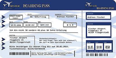 Einladungskarten Flugticket Blau Geburtstag 18. 20. 30. 40. Feiern Party  Fest