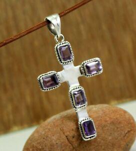 Cross Pendant in Amethyst or Garnet 925 Sterling Silver Gemstone Cross Pendant Handcrafted