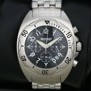 Mens-Watch-BEUCHAT-Tikehau-Steel-with-Black-Dial-Chronograph-40mm-Divers-Watch