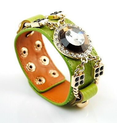 Women Genuine Leather Wide Bracelet Crystal Bangle Snap Cuff Fashion Wristband