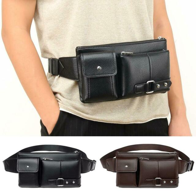 Fanny Pack Leather Black Waist Bag Hip Belt Pouch Purse Men Women Chest Bags