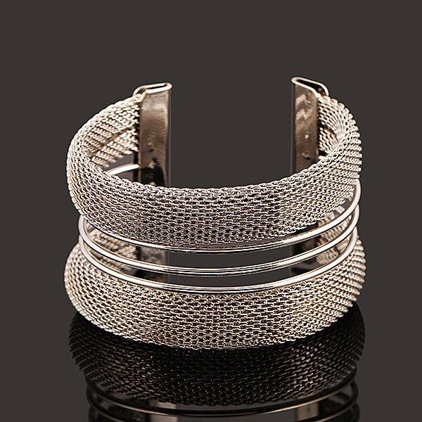 Women's Cuff Bracelets Gold Silver Color Pulseiras Femininas Wide Big Bangles