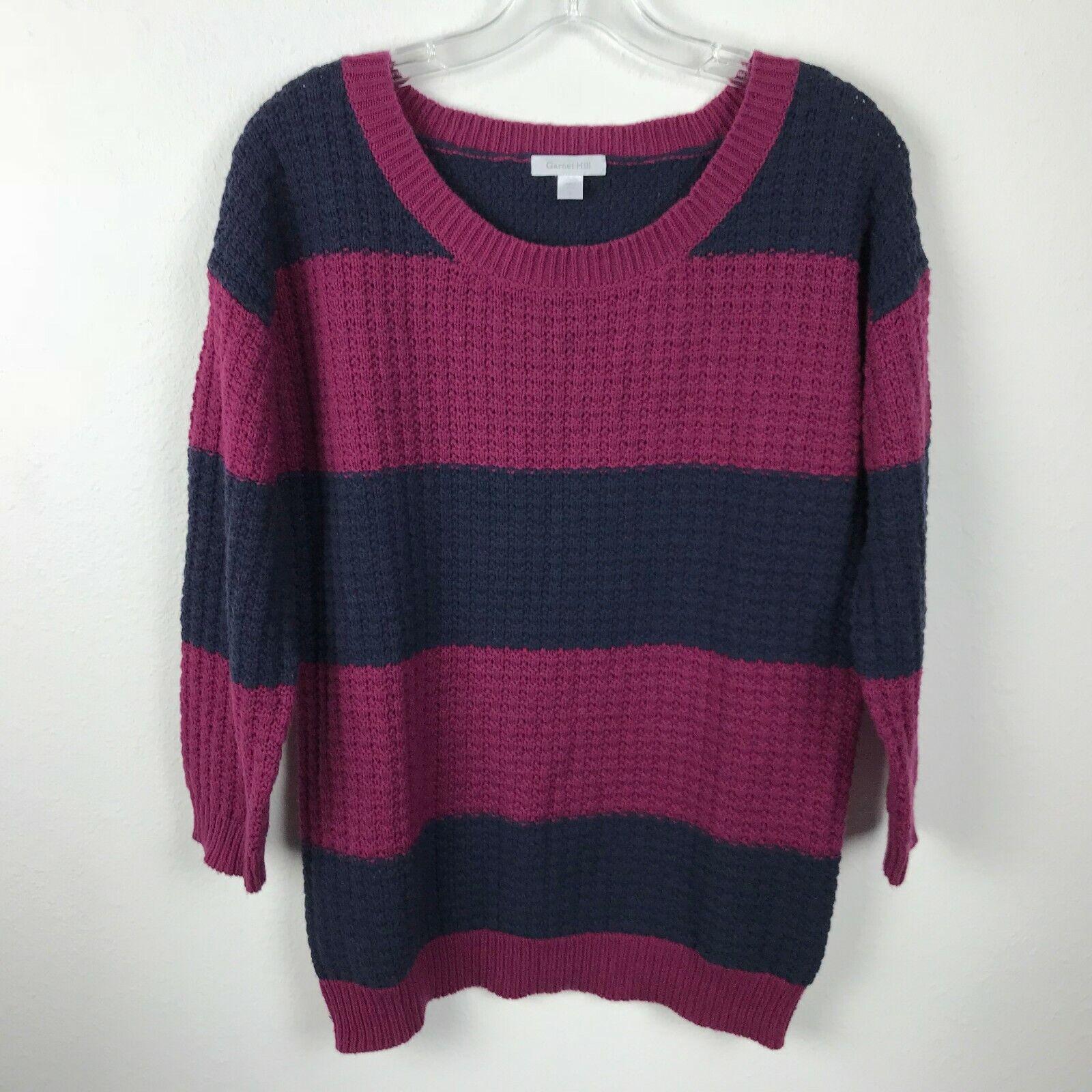 Garnet Hill Sweater Size S Maroon Navy bluee Striped Cotton Nylon Wool Womens