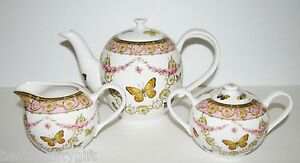 3-pieces-rose-GRACE-Gold-Multi-fleur-papillon-Porcelaine-Tea-Pot-Pot-a-lait-sucre