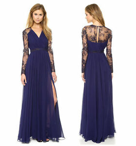 7276bf68fcc Image is loading Sexy-Lace-Chiffon-Evening-Formal-Party-Cocktail-Long-