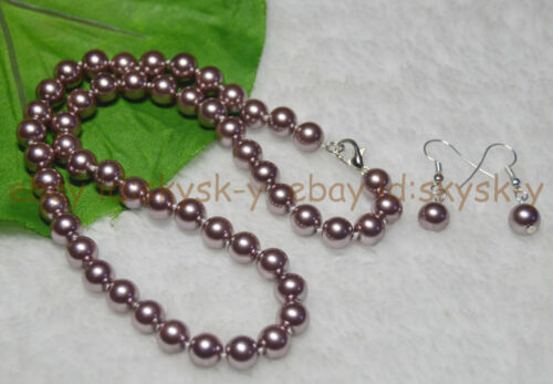 """8 Mm Silver champagne South Sea Shell Perle Colliers 18/"""" Boucles d/'oreilles Set AAA"""