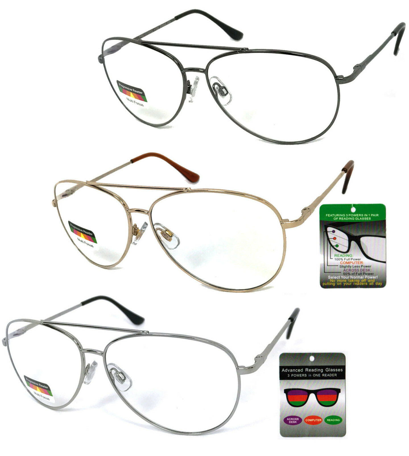 c21d535c957 Multi Focal Reading Glasses 3 Strengths in 1 Reader Aviator Spring ...