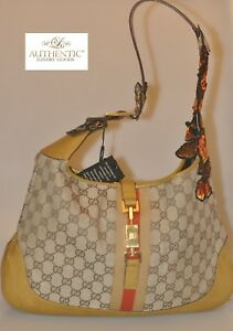 2fd5a145 Authentic Gucci Monogram Web Medium Jackie O Hobo Brown Floral | eBay