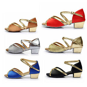Ballroom-heeled-Salsa-tango-latin-dance-shoes-children-girls-women-kids-6-styles