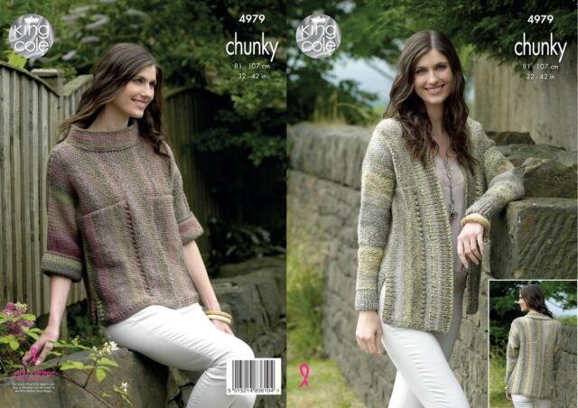 17036d3df1144b Ladies Cardigan Sweater Jumper Womens Chunky Knitting Pattern King Cole 4979