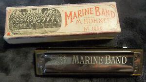 100% De Qualité Vintage M Hohner Marine Band Harmonica Nº 1896 Avec Boite A440 Allemagne Testé Et De Travail-afficher Le Titre D'origine