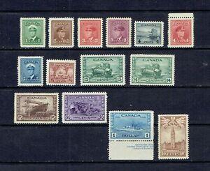 CANADA - 1942 KING GEORGE VI WAR ISSUE - SCOTT 249 TO 262 - MNH