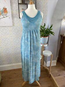 Ladies Maxi Dress Size 10 Fat Face Aqua Blue Floral Sleeveless Summer Holiday