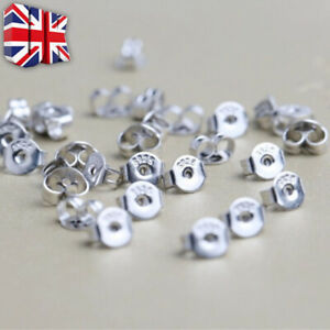 925 Sterling Silver Butterfly Backs Pin Stud Earring Earrings Scroll Stopper