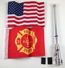 Motorcycle Flag Pole Mount and 6 x 9 Includes Fire Fighter & USA Harley Davidson