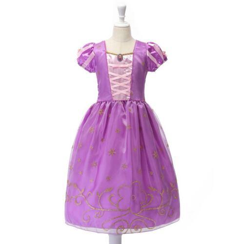MUABABY Girls Rapunzel Dress Up Kids Snow Princess Costume Children