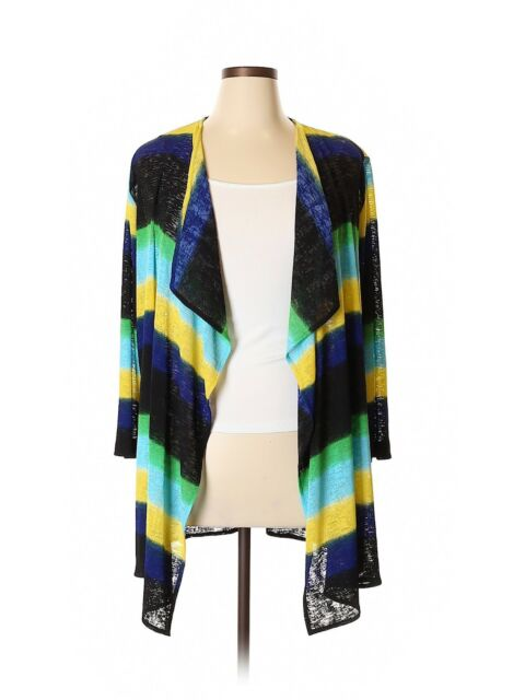a03ea58f8e8 1X Caroline Rose/Neiman Marcus Slub Knit Colorblock Stripe Cardigan Tunic