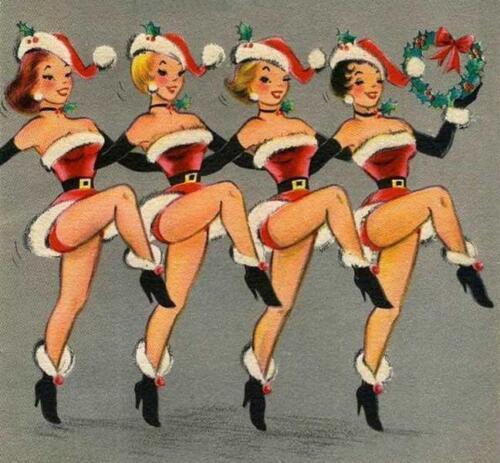 FEMALE SANTAS DANCING IN A LINE FRIDGE MAGNET CHRISTMAS