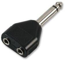6.35mm Plug to 2 x 3.5mm Jack Socket MONO Y Splitter Adaptor 6.3mm 1/4