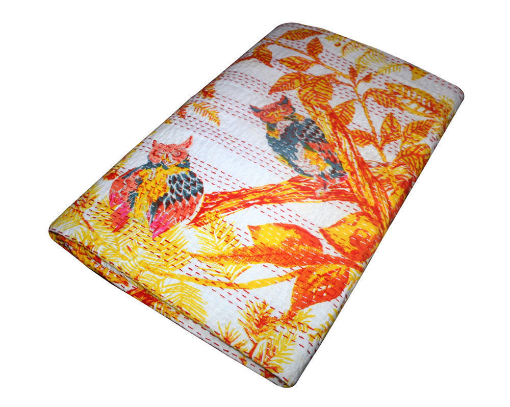Indian owl kantha quilt handmade cotton red yellow bedding bedspread queen size