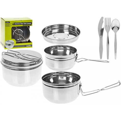 Nesting Billy Can 6 Piece Cooking Set Outdoor Travel Camping Stove Pots /& Pans