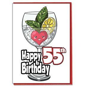 Image Is Loading Gin And Tonic 55th Birthday Card Daughter Son