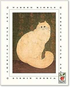 art-print-WHITE-PERSIAN-CAT-Warren-Kimble-cats-kittens-folk-primitive-8x10