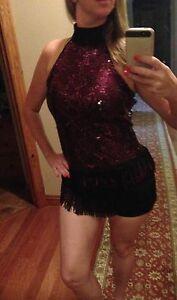 Marcea Black Pink Dance Sequin Jazz Costume Unitard Fringe Competition Dress