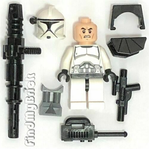 SW221 Lego Clone Commander Trooper Minifigure with Weapons 75000 75015 75016 NEW