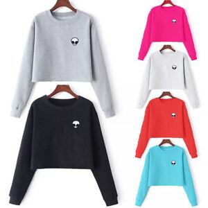 Image is loading New-Women-Alien-Long-Sleeve-Sweater-Pullover-Crop- 6fcbf27f6