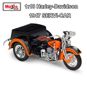 1-18-Scale1947-Harley-Davidson-SERVI-CAR-Diecast-Car-Model-Motorcycle-By-Maisto