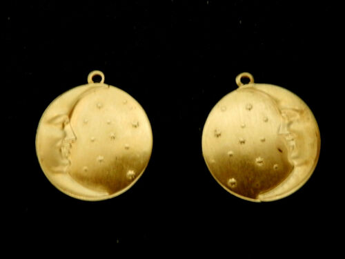 Vintage Brass Stamping Details about  /Moon//Stars Mirror Image Pair with Loops