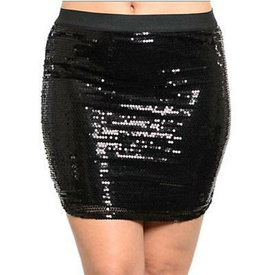 S7 - 1X 2X 3X Full Allover Embellished Sequin Slim Mini Club Skirt Black