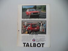 advertising Pubblicità 1980 TALBOT SIMCA SUNBEAM