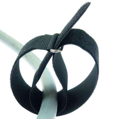 10 x Kabelklettband 50 cm x 50 mm schwarz Klettband Klett Kabel Binder Band Öse