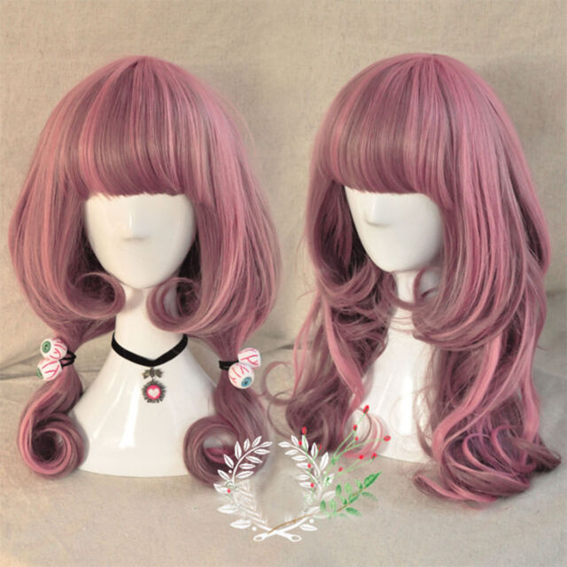Harajuku Lolita Long Curly Wavy Hair Full Wigs Pink Gradient Wig Anime Cosplay