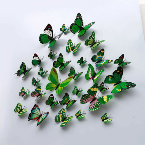 12pcs//set À faire soi-même Papillon Aimant Autocollant Mural Coloré Réfrigérateur Parti foyer Ornement