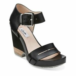 Womens-Ladies-Clarks-Black-Leather-High-Wedge-Heel-Sandals-Shoes-Size-4-37-New