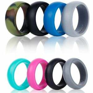 4 Pack Womens Silicone Wedding Rings Stackable Crossfit Gym Fitness