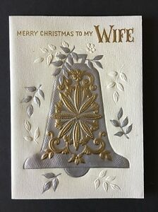 Merry Christmas to Wife Vintage Hallmark Greeting Card Silver Gold Bell