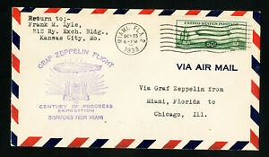 US-Stamps-C18-Superb-Flight-Cover-From-Miami-To-Chicago