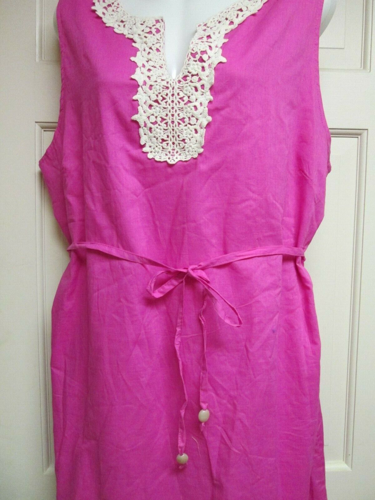 Pink Crochet Trim Cotton Dress by Mud Pie, Size Ex. Large, NWT