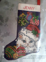 Candamar Christmas Holiday Needlepoint Stocking Kit,cat And Ornaments,30564,17